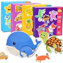 36 шт., Детские креативные головоломки для малышей, когнитивные карточки, набор животных, пара пазлов, развивающие игрушки для детей