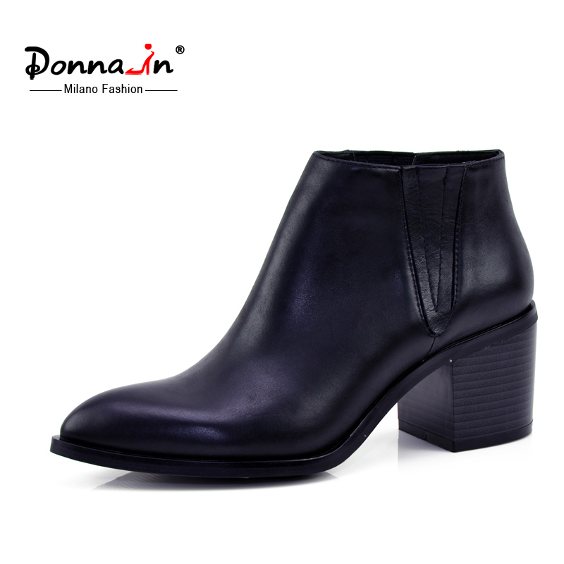 Donna in calf leather women boots pointed toe thick heel ankle boots classic chelsea boots genuine