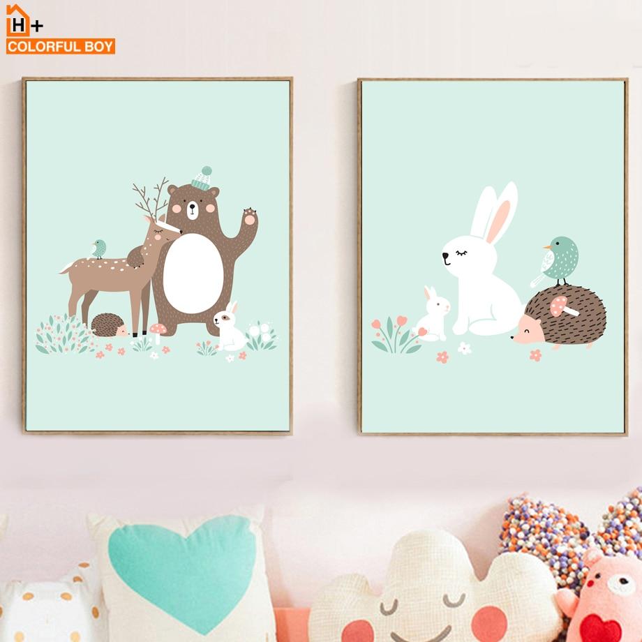 Rabbit Bear Deer Hedgehog Nursery Wall Art Canvas Painting Cartoon Nordic Posters And Prints Pictures Baby Kids Room Decor