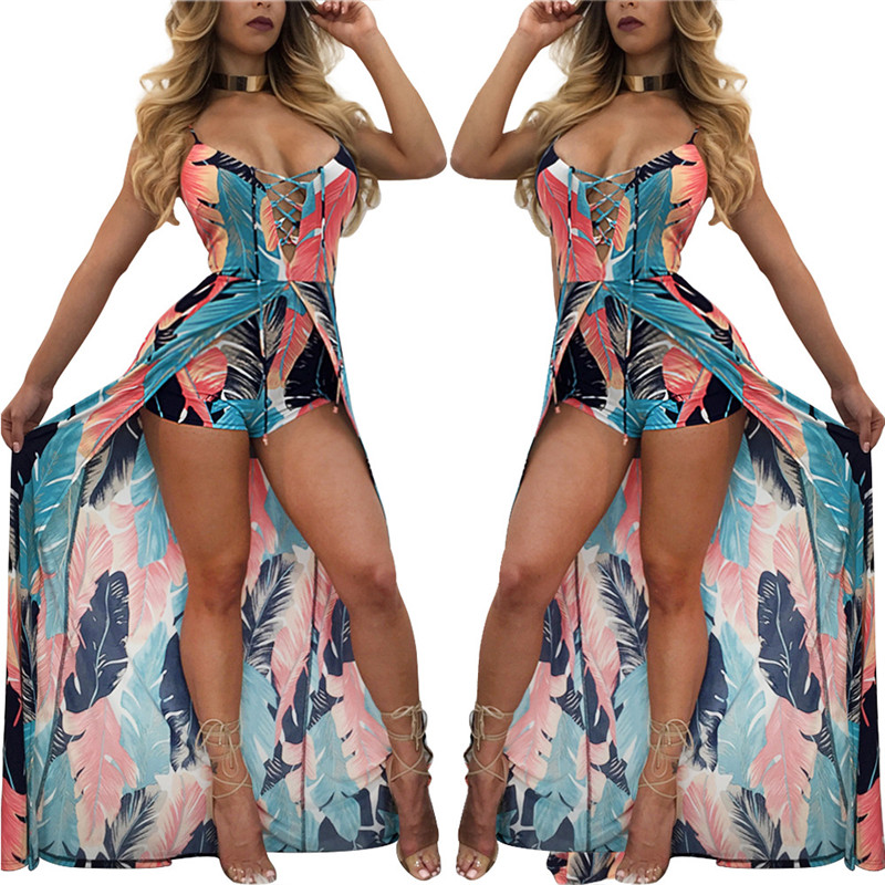 HTB1 bqBRXXXXXaAXVXXq6xXFXXXl - Elegant Boho Strap Beach Jumpsuit Romper Women Backless Lace Up Combishort Femme Ladies Feather Print Playsuits Summer Overalls