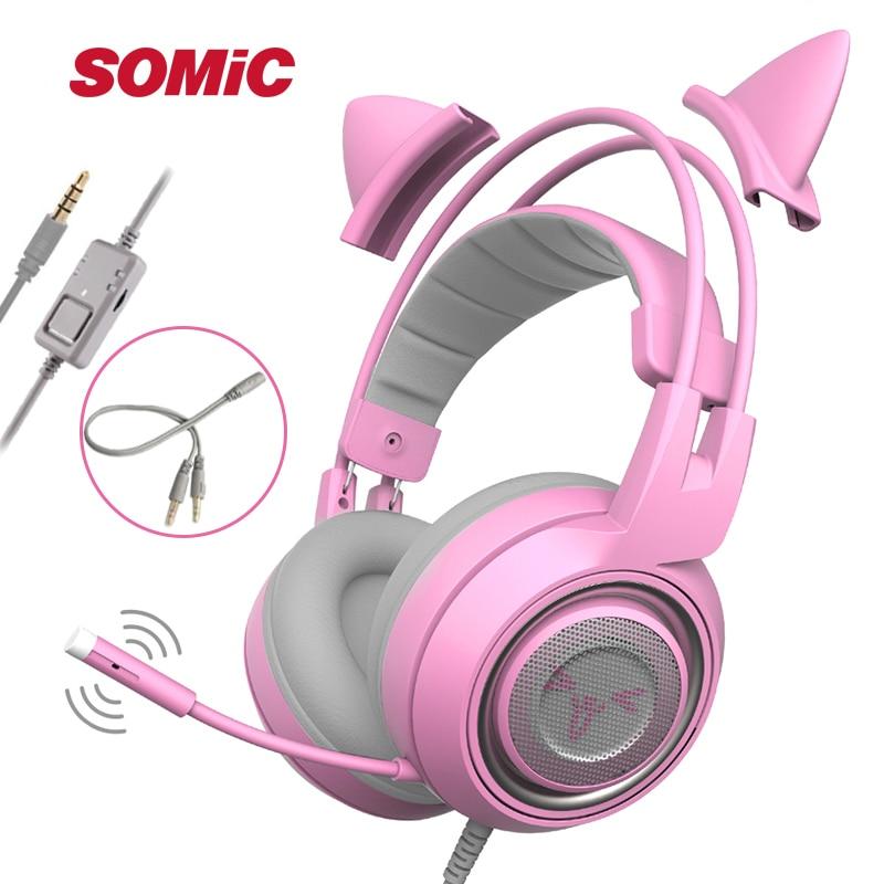 SÔMICA G951s PS4 Pink Cat Ear Noise Cancelling Fones De Ouvido Plugue de 3.5mm Menina Miúdos Gaming Headset com Microfone para Telefone