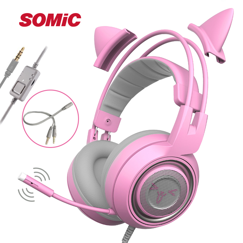 SOMIC G951s PS4 Pink Cat Ear Noise Cancelling Headphones 3.5mm Plug Girl Kids Gaming Headset with Microphone for Phone-in Phone Earphones & Headphones from Consumer Electronics    1