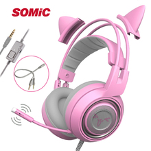 SOMIC G951s Pink Noise Cancelling Gaming Headset with Microphone Kid Girls Pink Cat Ear Headphone with 3.5mm Wired for PS4 Phone