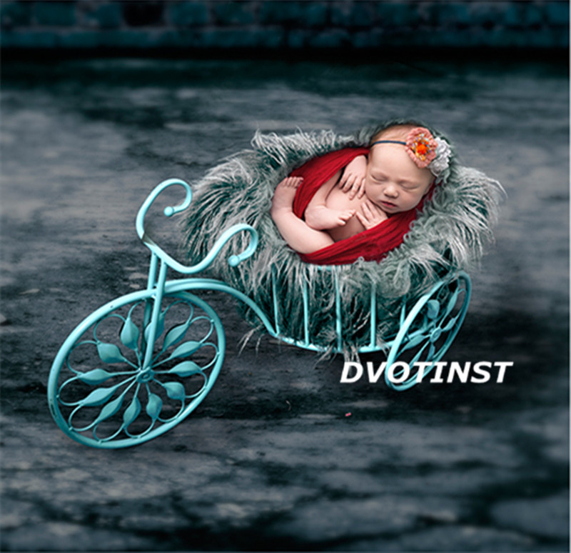 Dvotinst Newborn Baby Photography Props Iron Tricycle Bed  Basket Fotografia Accessories ...