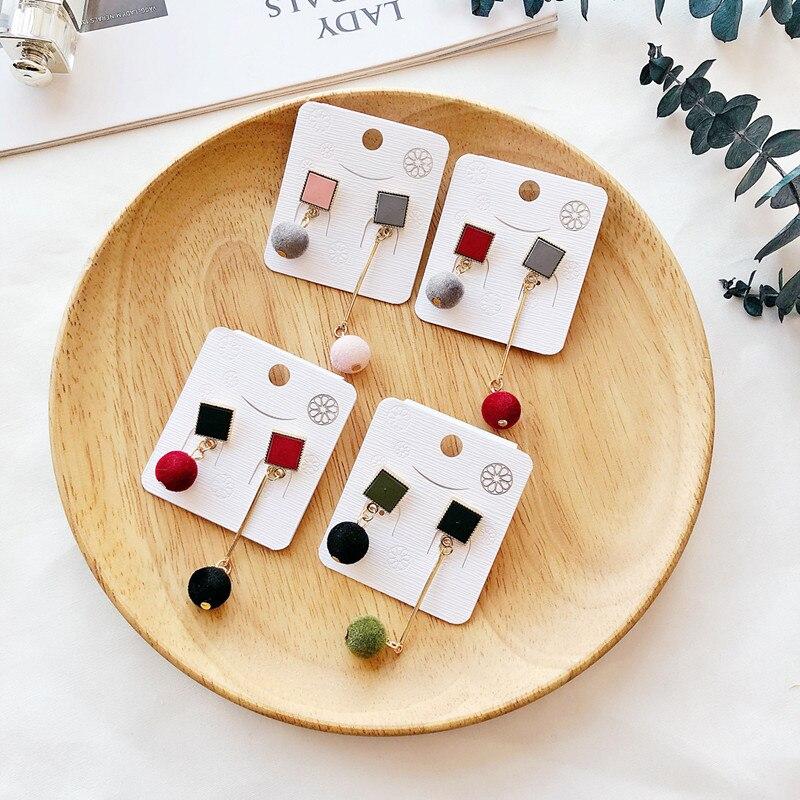 Ajojewel Simple Acrylic Geometric Earrings Women Velvet Ball Asymmetrical Earrings Jewellery Wholesale 10