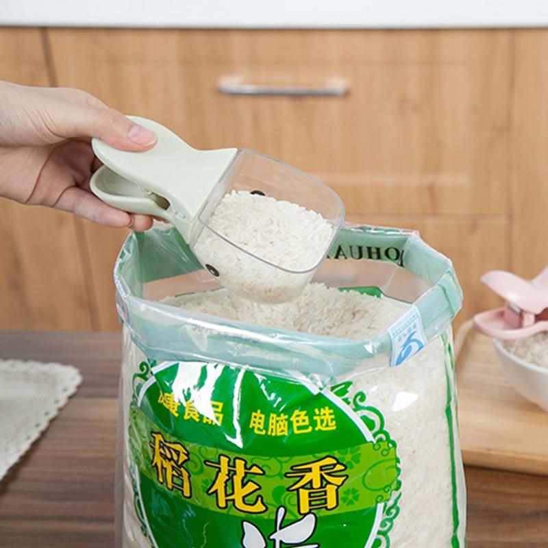 Cartoon modeling rice spoon Bag Clip Plastic sealing Clamp Bean Corn Shovel