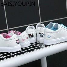 f78949e3c 2018 Novo Coringa Pequenos Sapatos Brancos Sapatos de Estudantes Do Sexo  Feminino-fundo Plano Pegadas de Gato Coreano Lazer Sapa.