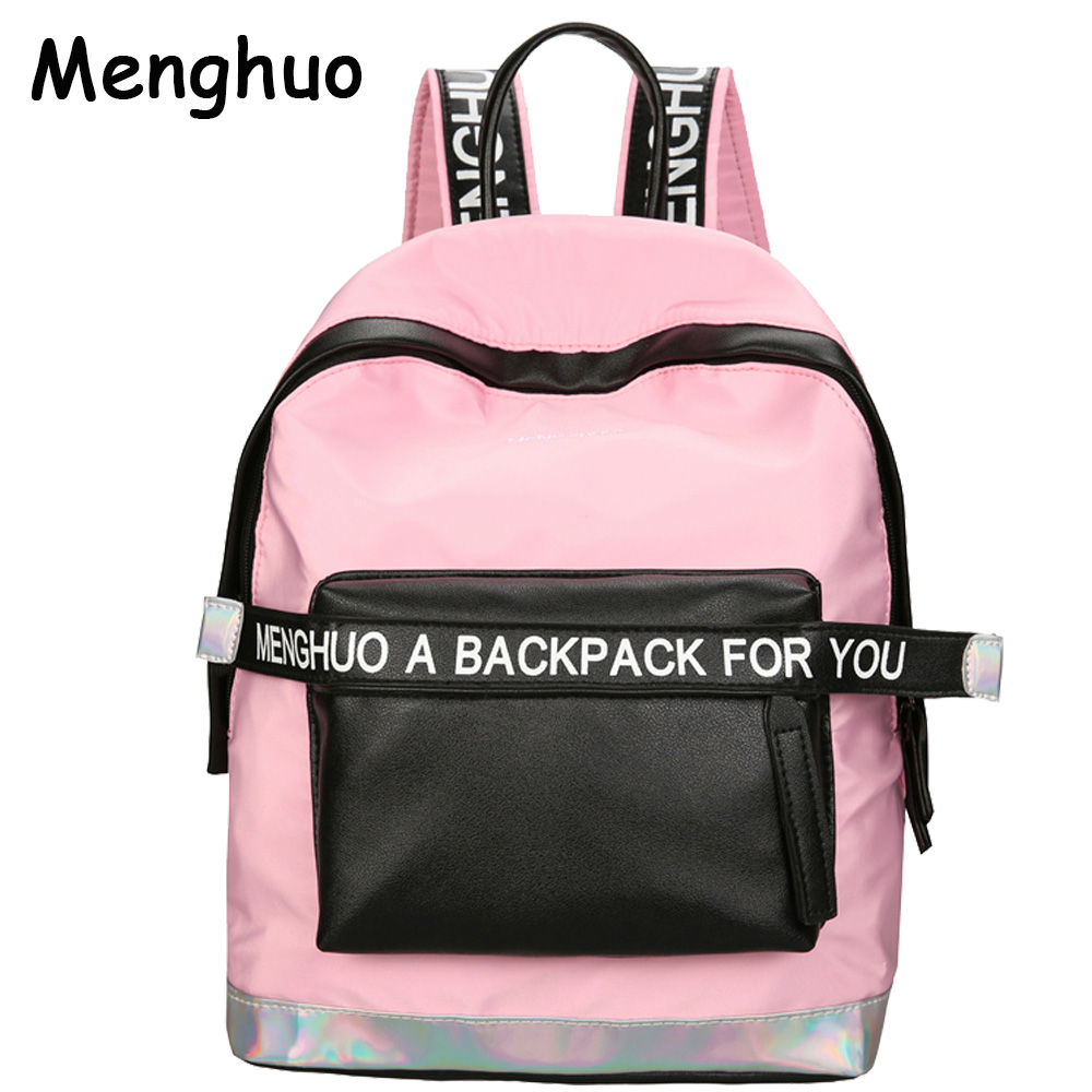 2017 Hot Women Laser Backpack School Bag For Teenage Girls PU Leisure Style Letter School Bagpack Casual Bag Travel Bag Mochila