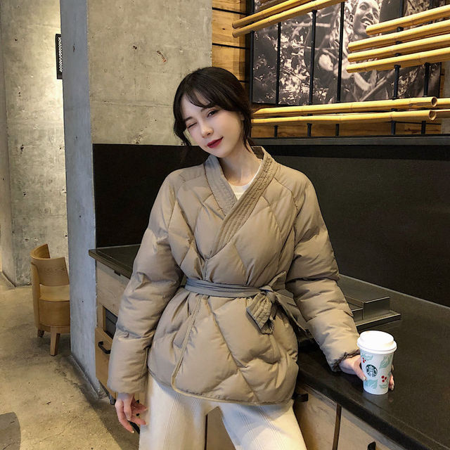Women Winter Solid Sashes Coat Thick High Quality Students Outwear 26