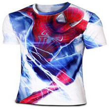 Spider-man 2 posters T-shirt Han edition men's short sleeve Round collar leisure tide male model Male spider man clothes