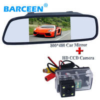 Universal car display mirror 5 screen with 4 led car rear reversing camera for Peugeot 206/ 207/407/307(Sedan)/307SM