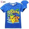 2-10 T Bebé Pokemon Ir T shrit Niños 100% Algodón camisetas de manga Corta Niños Niños Tops Deportes T-shirt de Verano ropa