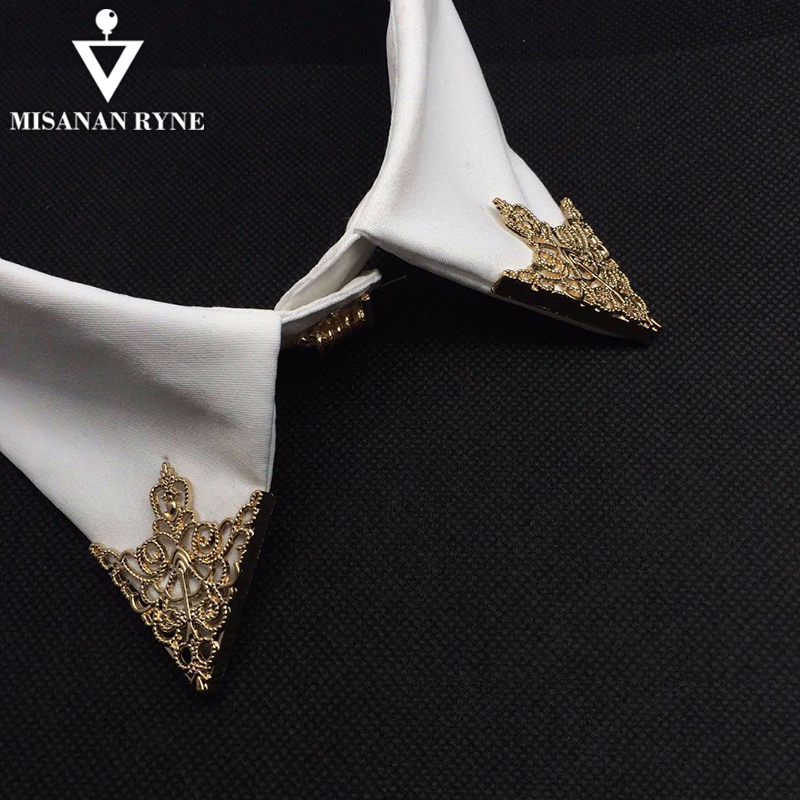 MISANANRYNE Fashion Alloy Brooch Hollow Pattern Collar Angle Palace Retro  Shirts Collar Pins Women Men Jewelry