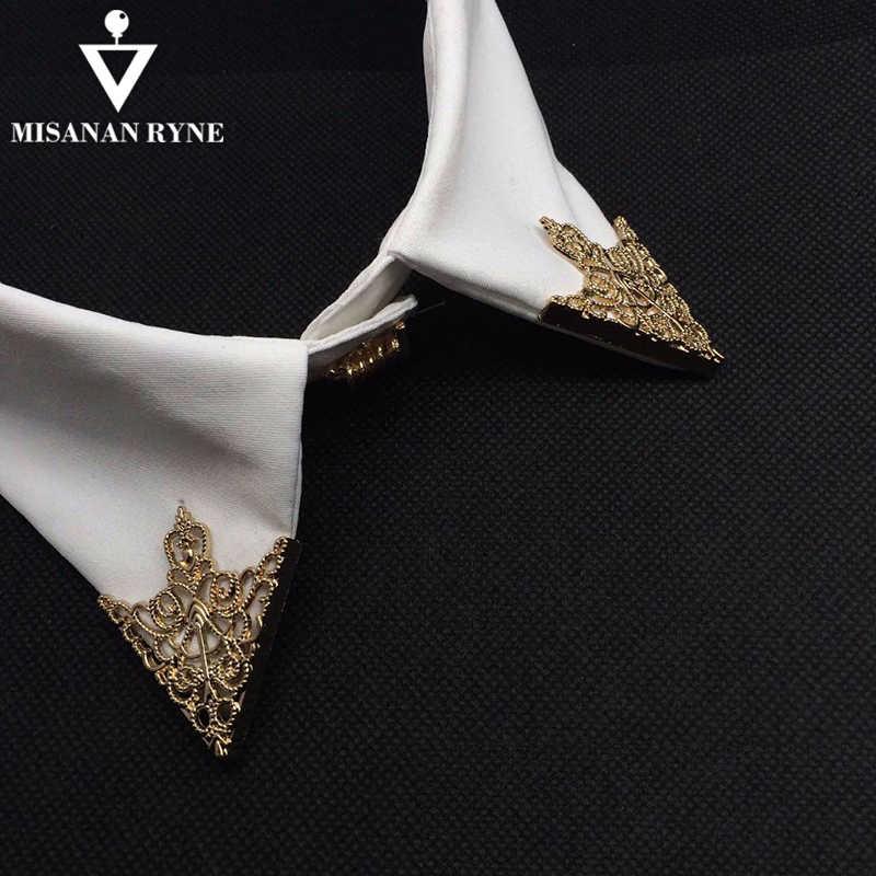 Misananryne Fashion Paduan Bros Pola Berongga Kerah Sudut Palace Retro Kemeja Kerah Pin Wanita Pria Perhiasan