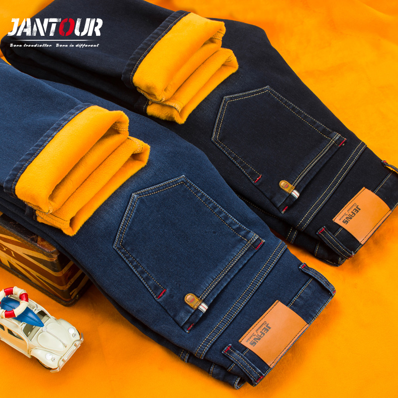 2017 New winter Warm Jeans Men High Quality Famous Brand Fleece Jean trousers flocking soft men pants Large Big size 40 42 44 46 2017 new arrival italy famous brand men s fashion jeans high quality size 30 40 blue vintage jeans pants
