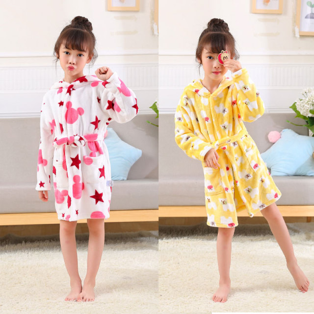 Girls Cute Flannel Long Sleeve Bath Robe