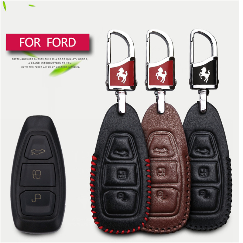 2017 New Genuine Leather Car Smart Key Case Cover Bag For Ford Fiesta Focus 2 Kuga Eco sport Mondeo 4 Car Styling Key Case Cover