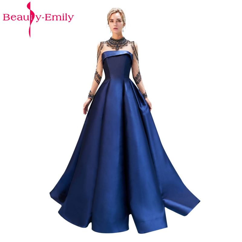 Beauty Emily Luxury Beading Satin Evening Dresses 2018 Long Formal Prom Dresses Plus Size Party Gowns vestido de novia