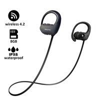 Bluetooth earphone with 8 GB memory mini portable MP3 Player waterproof wireless headphone sport MP3 Player walkman headset mic
