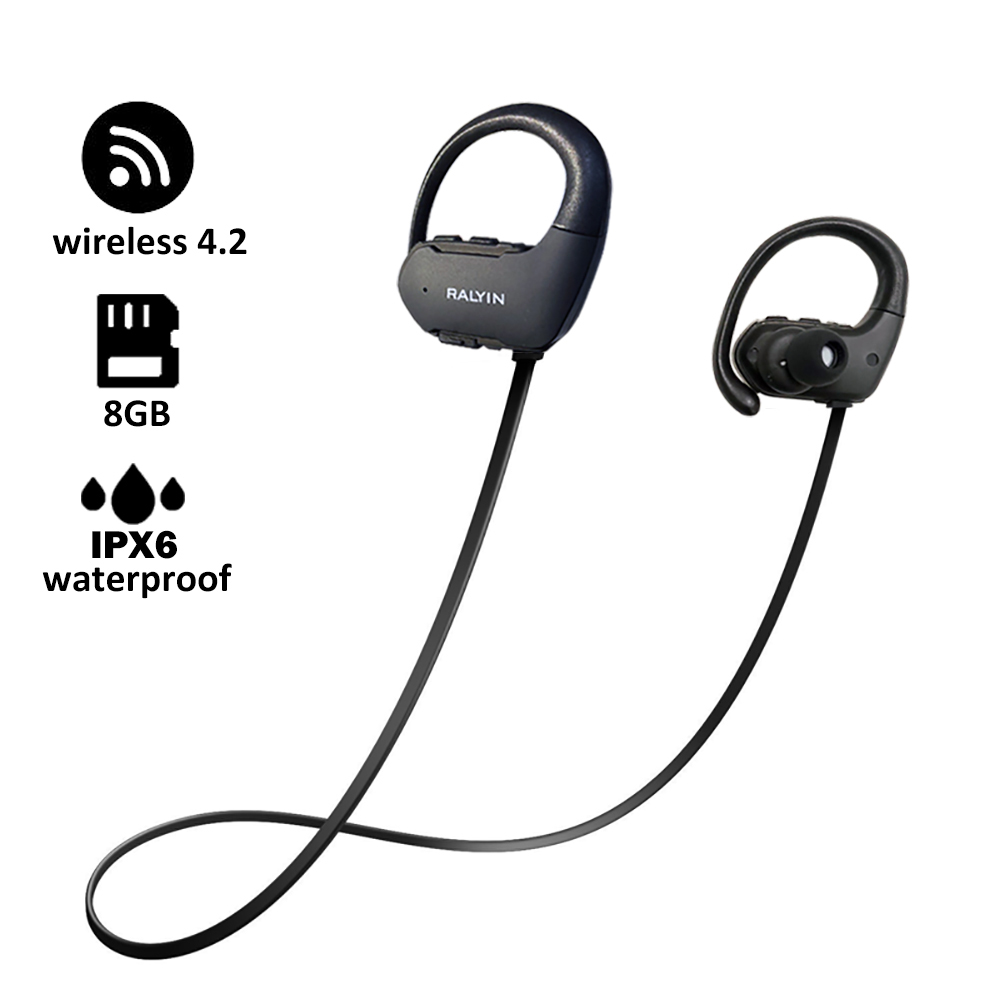 Bluetooth earphone with 8 GB memory mini portable MP3 Player waterproof wireless headphone sport MP3 Player walkman headset mic цена и фото