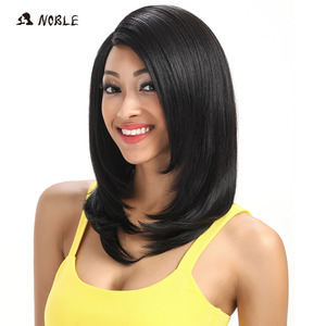 Image 2 - Noble For Black Women 18 Inch Straight Hair U Part Elastic Lace Synthetic Wigs Cosplay Wig Natural Color 1B Synthetic Lace Wig