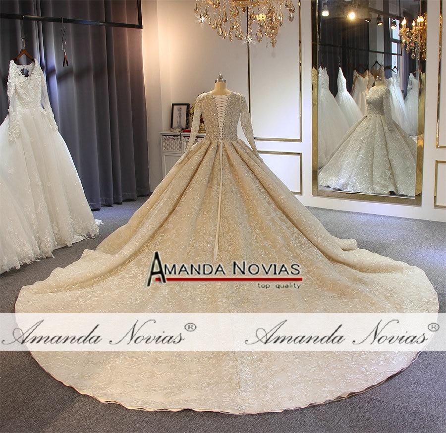 Image 4 - wedding dress 2019 full lace beading luxury sparkling wedding gown bridal dress-in Wedding Dresses from Weddings & Events