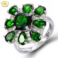 HUTANG 6.147ct Natural Chrome Diopside Solid 925 Sterling Silver Ring Vivid Green Gemstone Fine Jewelry Women's 2017