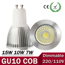 Super Bright GU10 Bulb Light Dimmable Led Ceiling light Warm/White 85-265V 7W 10W 15W GU10 COB LED lamp GU10 led Spotlight ZK62(China)