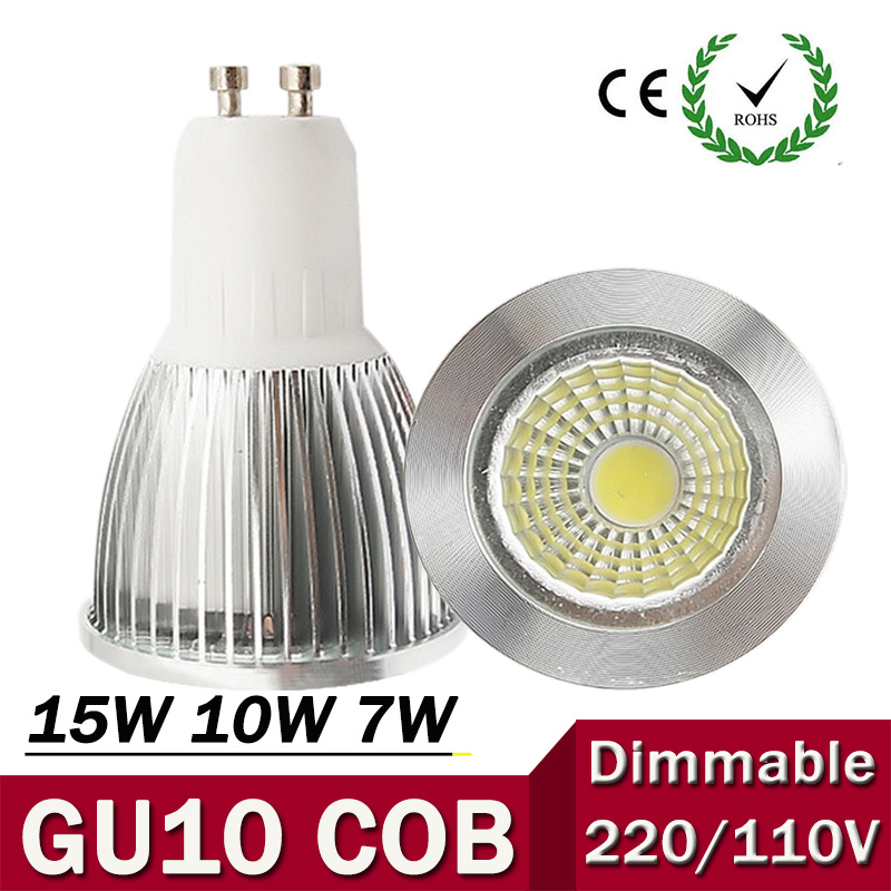 Super Bright GU10 Bulb Light Dimmable Led Ceiling light Warm/White 85-265V 7W 10W 15W GU10 COB LED lamp GU10 led Spotlight ZK62 1pcs super bright 3w 4w 5w 6w 7w gu10 led bulb spot light lamp 110v 220v dimmable gu10 smd 5050 2835 lighting warm cold white