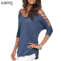 2016 Fashion Batwing Off Shoulder Strappy Hollow Out Loose Blouse Femme Cotton Womans Casual Summer Blouse
