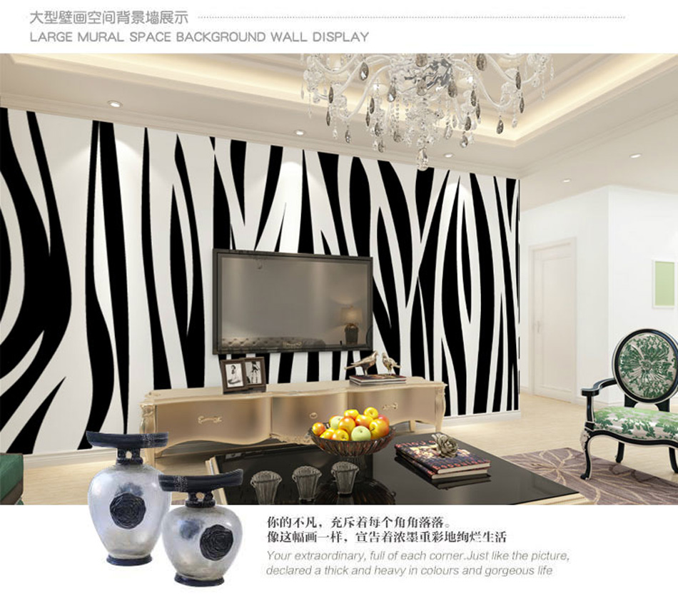 Black White Art Zebra 3D Room Animal Custom Photo Natural Wallpaper Mural Rolls Living Room Wall Paper Bedroom Background Decor fashion letters and zebra pattern removeable wall stickers for bedroom decor