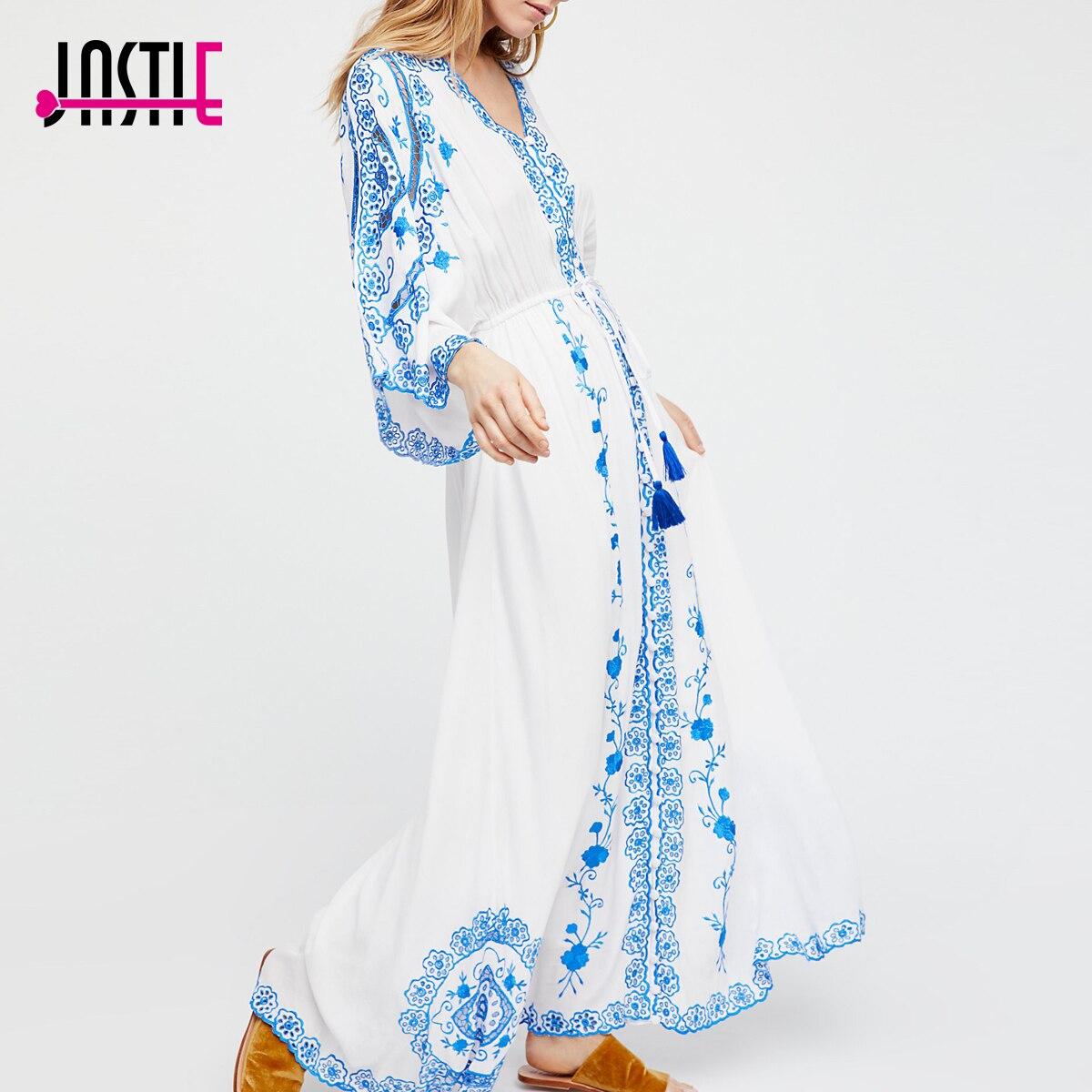 Jastie 로얄 블루 자수 맥시 드레스 버튼 v 넥 여성 드레스 drawstring 허리 기모노 슬리브 캐주얼 드레스 2018 봄-에서드레스부터 여성 의류 의  그룹 1