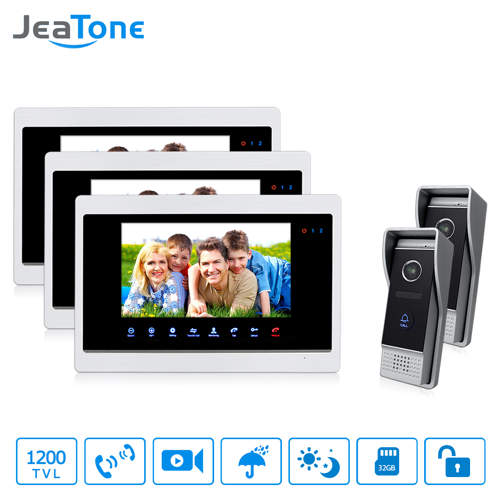Jeatone New Design 7 Inch Wired Video Doorbell Intercom System Support Recording And Photo Taking 1200TVL IR Night Vision Camera
