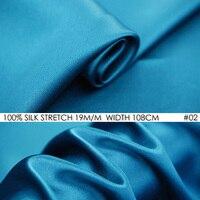 SEIDE STRETCH-SATIN 108 cm breite 19 momme Naturseide Tissus Für Hochzeit Kleider Nähen Fabrik Großhandel Pfau Blau KEINE 02