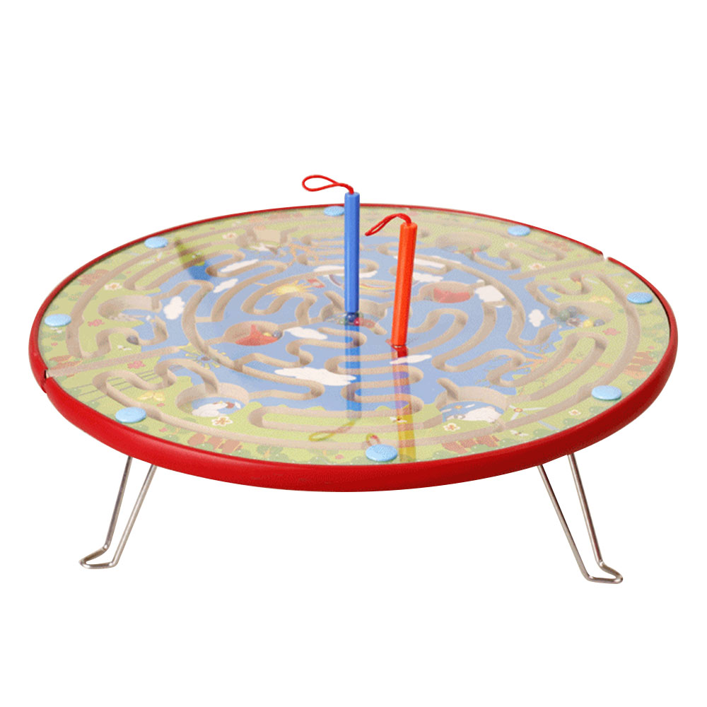 2 in 1 Kids Educational Toys Labyrinth Walking Beads Slip Board Games Annular Magnetic Track Brush Maze Intellectual Development цена