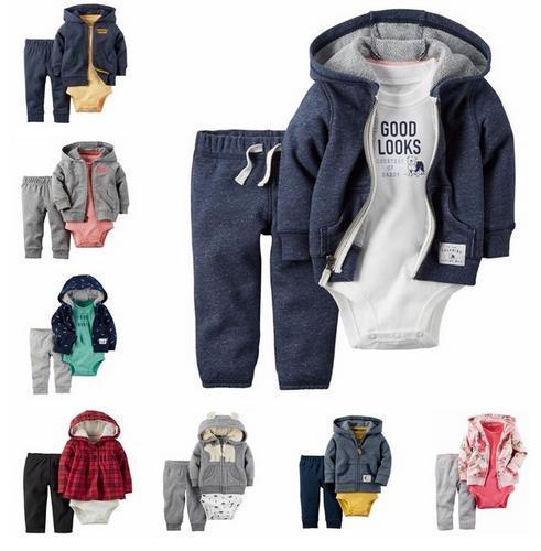 2017 nuevos niños bebes recién nacidos muchacha del muchacho 3 unids ropa set, bebes roupas meninos modelo Otoño e invierno bebé ropa de la muchacha fijaron
