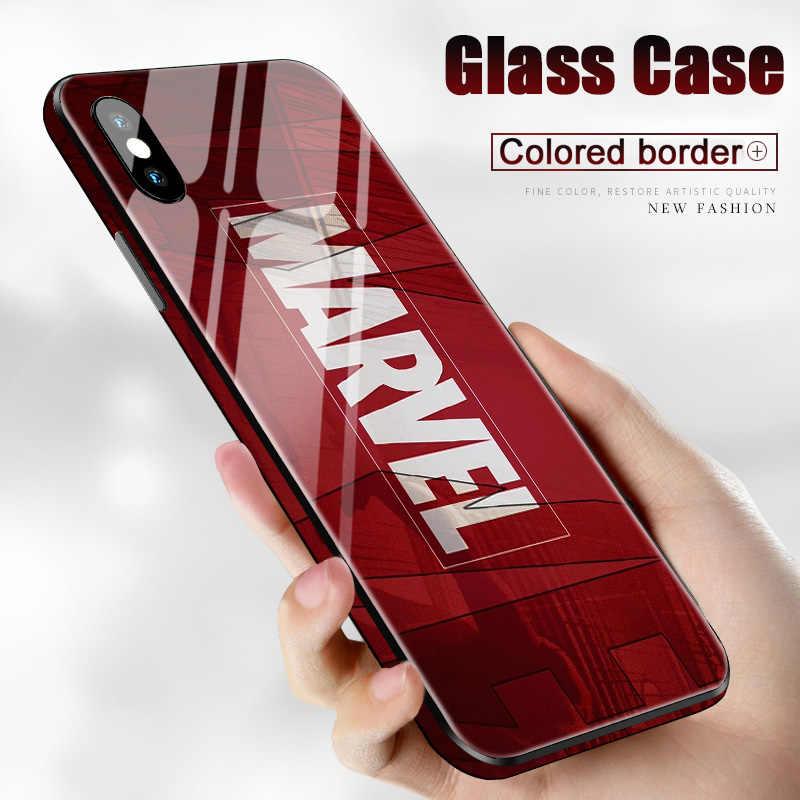 Luksusowe Marvel Avengers szkło hartowane etui na telefony dla iPhone 8 7 6s Plus 11 PRO max XS MAX XR 10 X pająk Batman jad pełna pokrywa