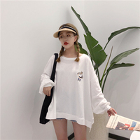 2018 Women Cute Graphic Tee Casual tshirts Long Sleeved Autumn Tops Tees Harajuku Oversize T shirt Korean Style White Clothing