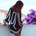 Сексуальные Женщины Летняя Одежда Платье С Slash Плечо Party Beach Черный Повседневная Краткая Свободные Короткое Платье Повелительницы