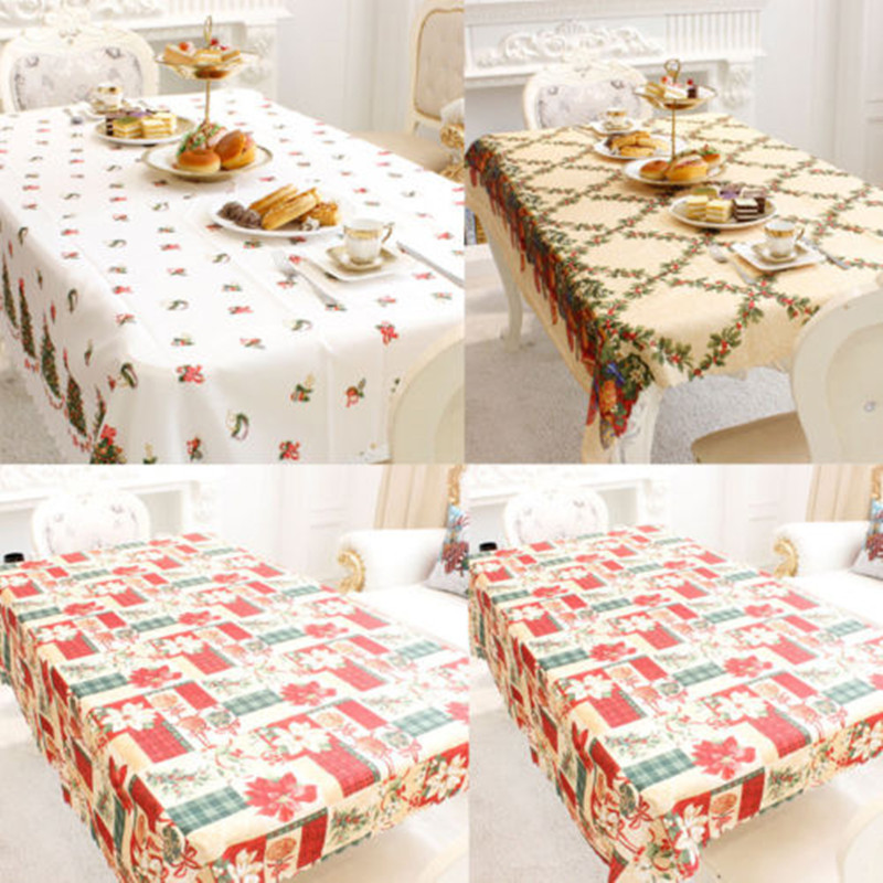 Christmas Party Table Cloth Dining Kitchen Cover Protector Tablecloth Xmas Home Decor In Tablecloths From Garden On Aliexpress