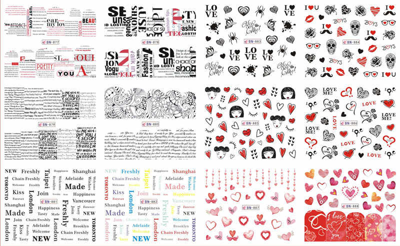 12 Designs/Sheet Valentine Romantic Nail Decals Sticker Rose Lipstick Water  Transfer Stickers Nail Art Decoration Gift BN877-888