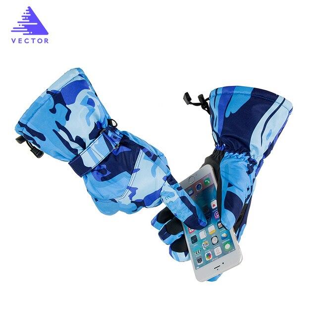 Вектор лыжные перчатки Для мужчин Для женщин теплые ветрозащитные Водонепроницаемый Сенсорный экран зимние перчатки снегоход Ездовые перчатки сноубордические перчатки