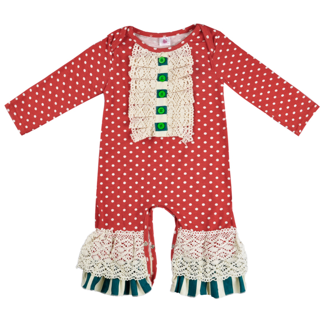 b1408d79a113 Christmas Infant Romper Wholesale Baby Girl Remake Outfit Baby Red Polka  Dot Jumpsuits Newborn Cotton Knitted