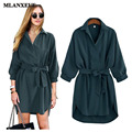 Mlanxeue Autumn Style Women's Long-sleeved Lapel Cotton Dress Fashion Elegant Temperament Retro Dress 2016 Women's Silm Dress
