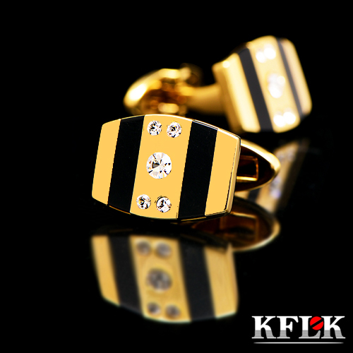 KFLK Luxury gemelos shirt cufflinks for mens Brand cuff buttons Gold cuff link High Quality Crystal abotoaduras Designer Jewelry kflk jewelry fashion shirt cufflinks for mens gift brand cuff links buttons blue high quality abotoaduras gemelos free shipping