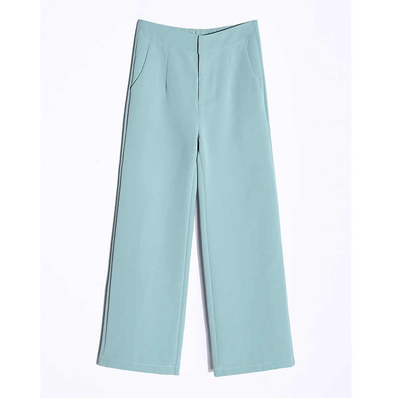 Новинка лета 2019, женские широкие брюки с разрезом, высокая талия, большой размер, укороченные брюки, свободные штаны, темперамент, дикие, S до 3XL
