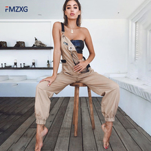 SQLYZAWN 100% Cotton Women Jumpsuit Khaki Overalls Casual Long Trousers Vaqueros