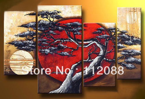 ! Handmade 4pcs/set modern abstract oil painting art canvas,painting canvas trees. - Hand made paintings store