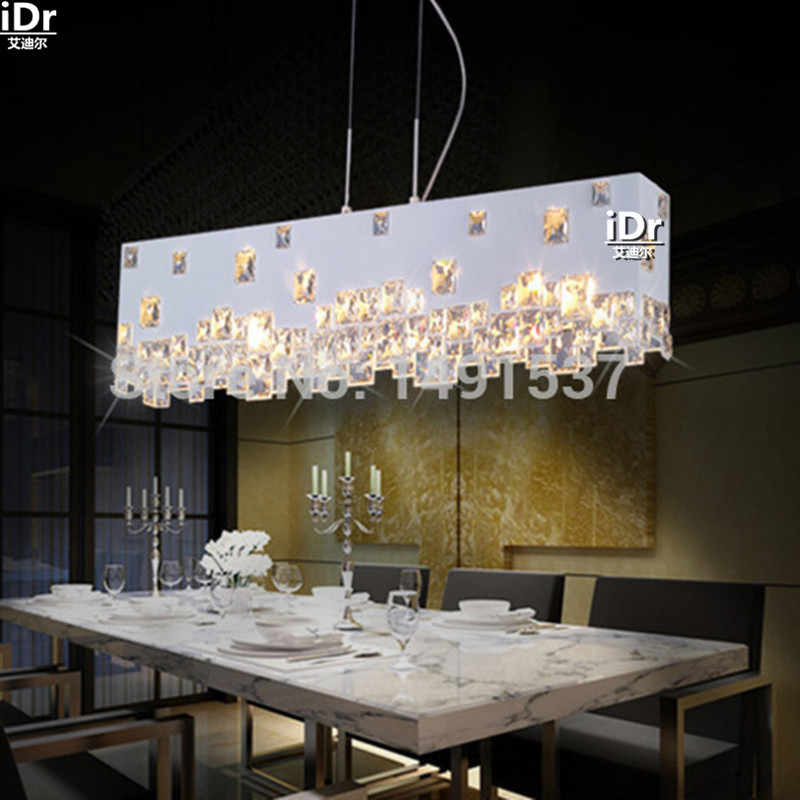 Modern minimalist fashion creative crystal chandelier lamp meal hanging den hotel restaurant bar rectangle