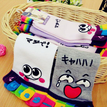 2pairs=1 lot lovely cute women Five fingers socks cotton cartoon top quality Free Shipping MF264515